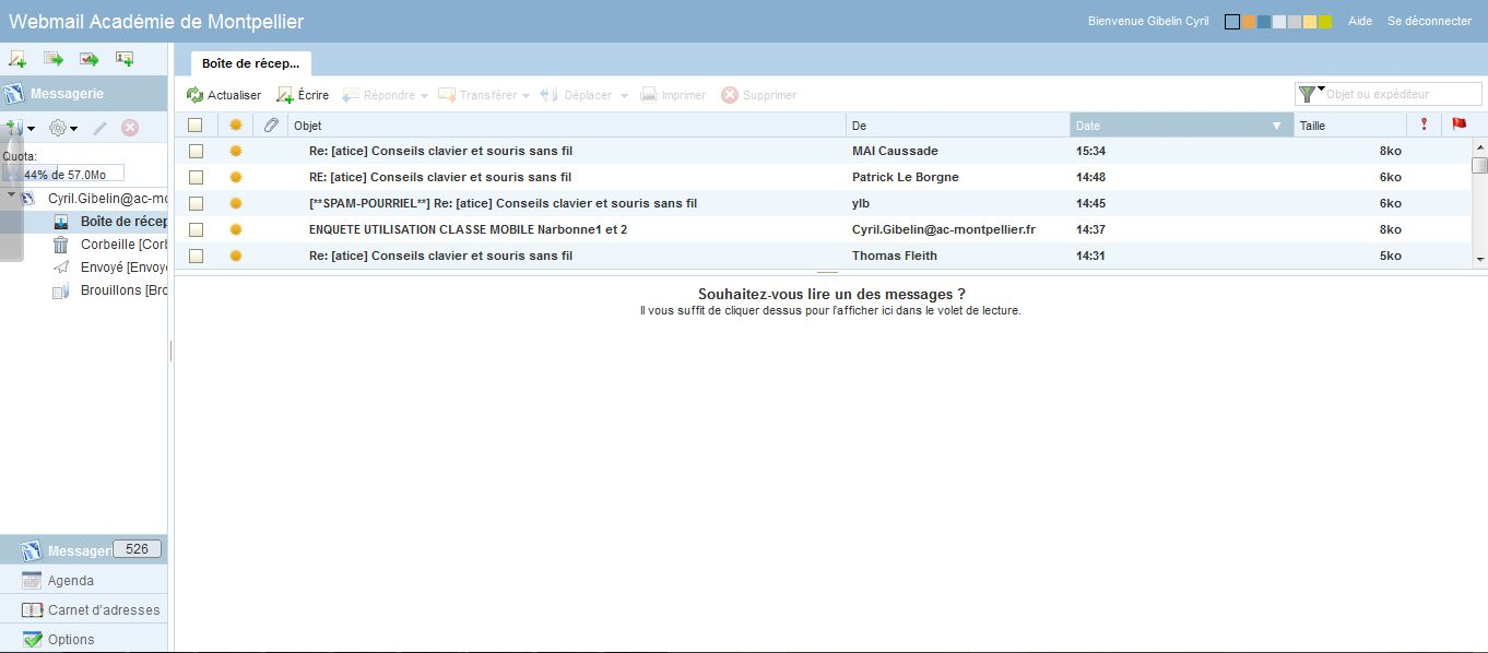 webmail ac Montpellier boite mail messagerie