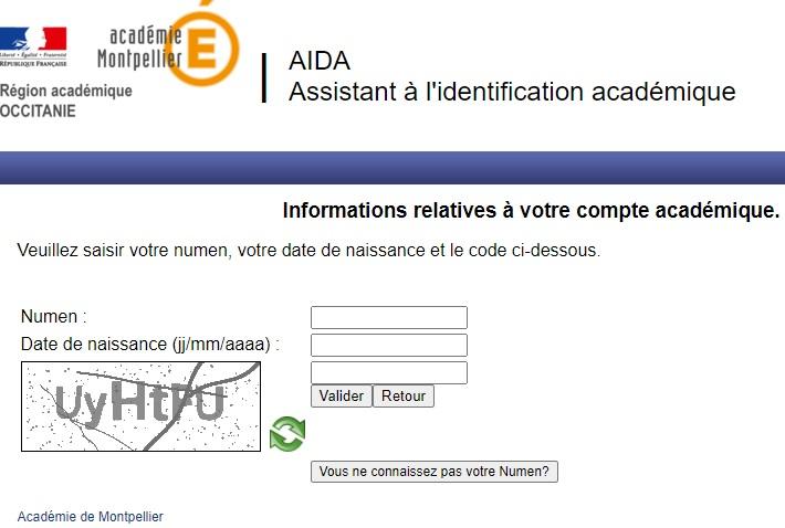 webmail Montpellier aida identification