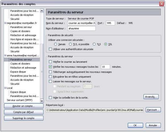 webmail montpellier configurer Mozilla Thunderbird