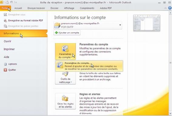 webmail montpellier configurer Microsoft Outlook